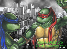 Confused Raph Convincing Leo by alaer