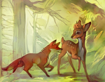 Deer and fox by Sawitry