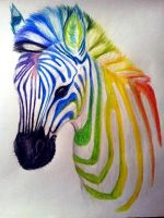 Rainbow zebra by Neytiri012