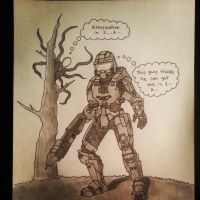 Master Chief in Slender's forrest by danventuretime