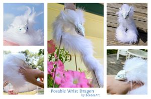 Posable Wrist Pearl Dragon-Snake (multiple views) by BeeZee-Art
