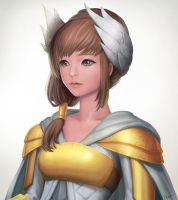 Golden Wing Armor Girl by chalii