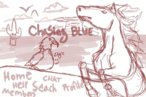 Chasing Blue Banner sketch by DaggarHeart