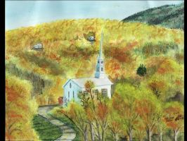 Appalachian Mountain Chapel In Fall by FastLaneIllustration