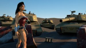 Wonder Woman, surrounded by tanks by DahriAlGhul