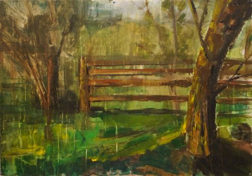 Painting: Tree and fence by Xperionity