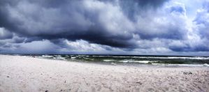 Stormy Beach Pano by lily314