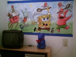 Spongebob Wall Painting by Cathy86