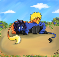 Family rest in the sun +Commish+ by Naru-Seme