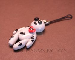 Cute grey voodoo doll charm phone strap by CharmsByIzzy