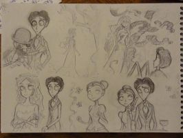 Corpse Bride sketches page by Akemimi