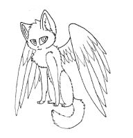 Winged cat lineart by rahsterrox