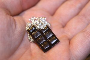 Dark chocolate bar charm necklace by Guvy
