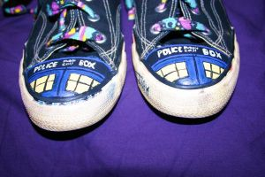 TARDIS shoes by CoralMoonM
