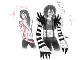Jeff the killer and Laughing jack by pbo-artistica