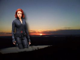 GIANTESS BLACK WIDOW BEHIND THE SUN SET by darthbriboy