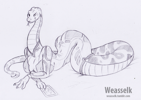 Snake in Jumpsuit by weasselK