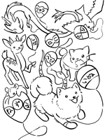 Japanese Animals Coloring Page by LunarSpoon