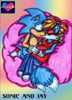 Preg Jay and Sonic colored by jayfoxfire