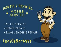 Renes 4 Pennies Mobile Service Car Magnet by JesseAcosta