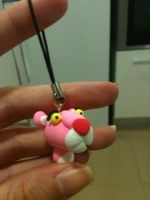 Pink Panther mobile phone charm by anapeig