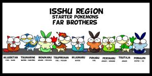 isshu starter pokemon brothers by c4tman