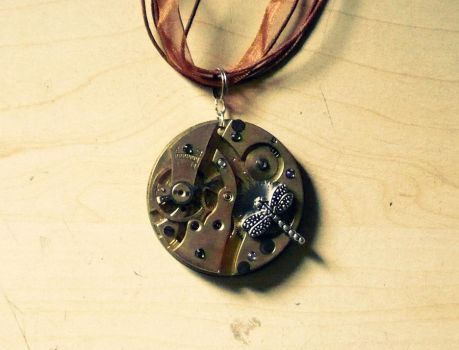 Steampunk dragonfly pendant by Salieria