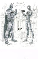 Spider-Man and Batman talking shop by skeel76