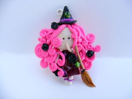 Polymer clay witch flat figure charm by HopieNoelle
