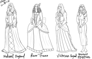 Historical dress sketches by Chloe-The-Great