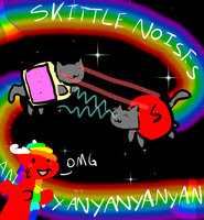 NYAN CAT VS SKITTLE KITTY LAZER EYES BATTLE by duskdragon13
