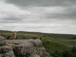 Standing Above Malham Cove by iyonix