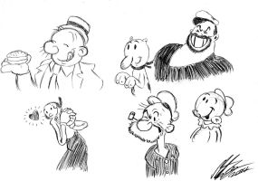 My little quick drawing of Popeye characters by MortenEng21