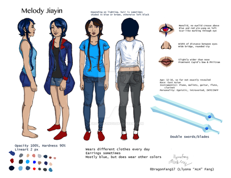 Melody Jiayin Reference Sheet - ReversalRain by DragonFang17