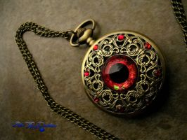 Red Prismatic Steampunk Eye Pocket Watch by LadyPirotessa