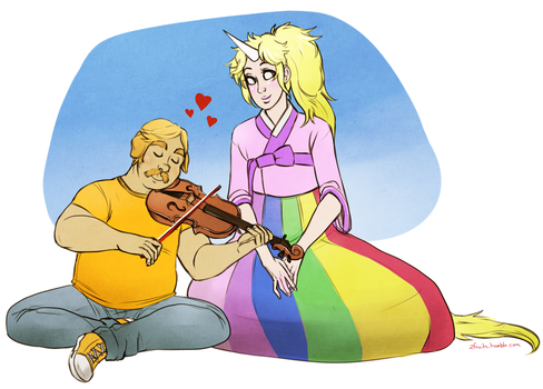 Jake and Lady Rainicorn by zombiefruits