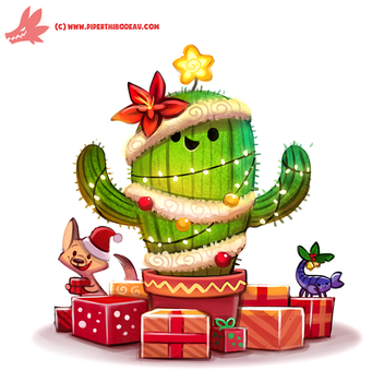 Daily Paint #1128. Christmas Cactus by Cryptid-Creations