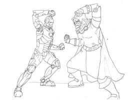 Ironman vs Dr Doom fineliner by savagehenry89