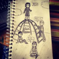 Kidlock sketch 1: Don't fall Sherlock by JediSkygirl