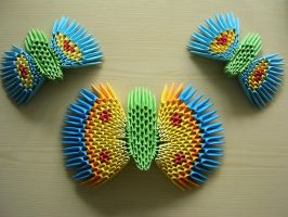 3D origami - 3 Buttterfly by Ketike