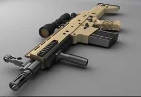 FN SCAR-H battle rifle: Perspective view by Samouel