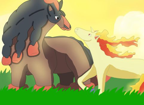 Mudsdale and Rapidash by vampireknight16