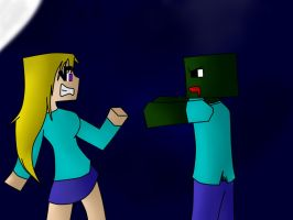 Girl and Zombie - Minecraft by MewYare