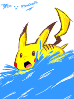 Pikachu in the Water Oekaki by Tigris-Lilium