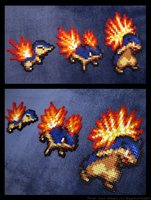 Cyndaquil, Quilava, and Typhlosion Set by BklynSharkExpert