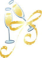 Ribbon And Two Glasses Of Wine PNG by HanaBell1