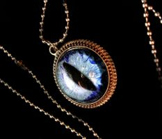 Blue Waters Teal Sky - Dragon Eye Pendant by LadyPirotessa