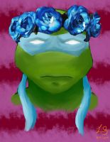 Turtles and Their Flower Crowns - Leonardo by autobot2
