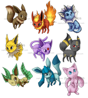 Eeveelutions - oh, and Mew by Zaphy1415926