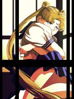 Usagi crying in the phone booth by ScarletLady